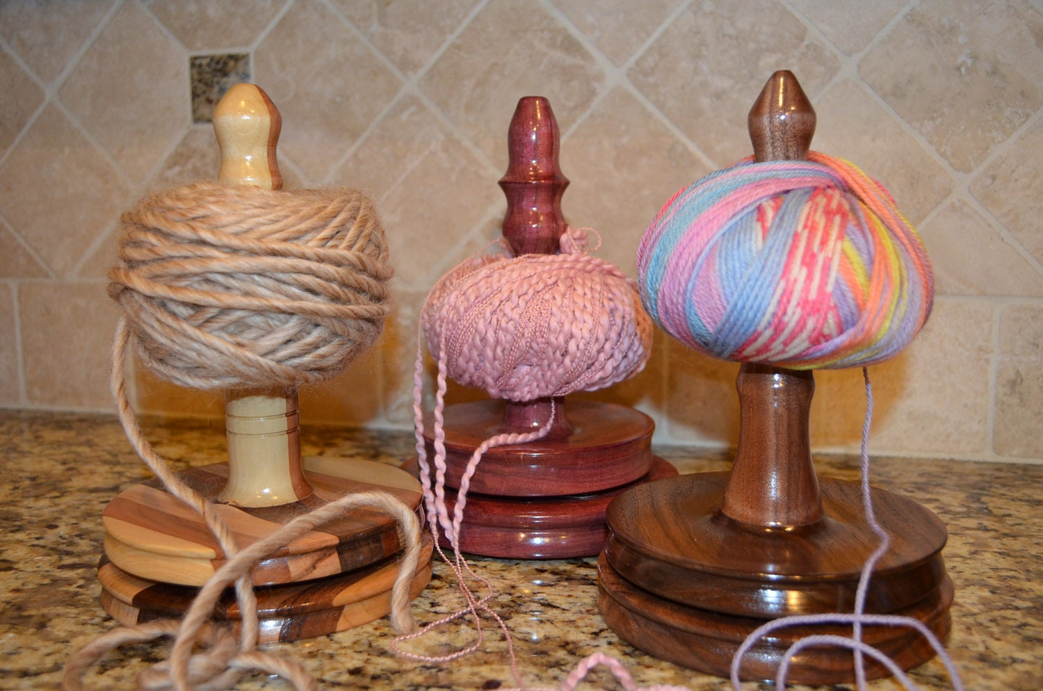 wood yarn holder for knitting and crochet by WhisperingWoodturner