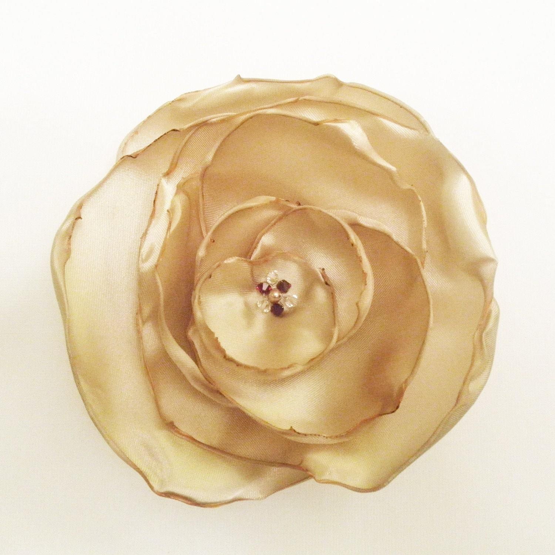 Champagne Satin Flower Swarovski Crystal Pin / Fascinator Gold