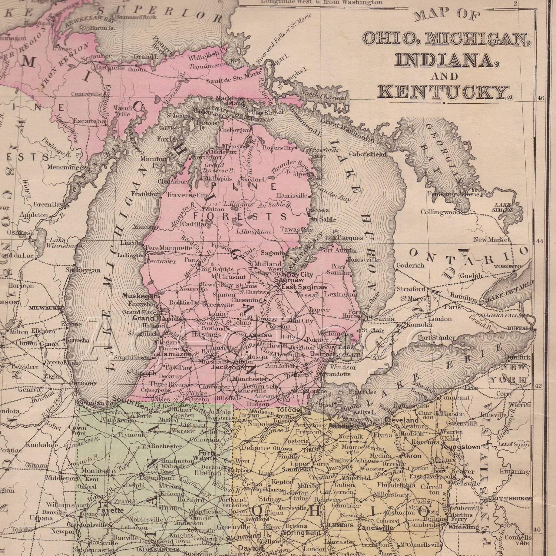 Framed Original 1887 Antique Map WEST VIRGINIA Huntington