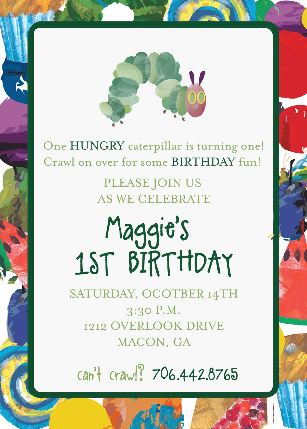 Hungry Caterpillar Invite was great invitation layout