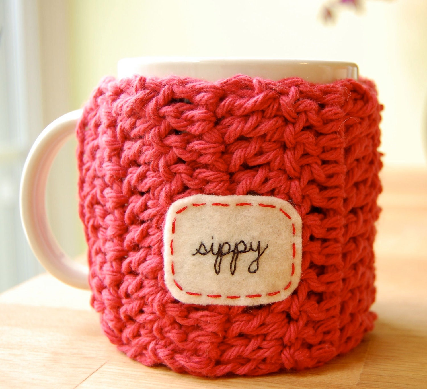 Personalized Coffee Mug Cozy Country Red Crocheted Tea Cup Cosy