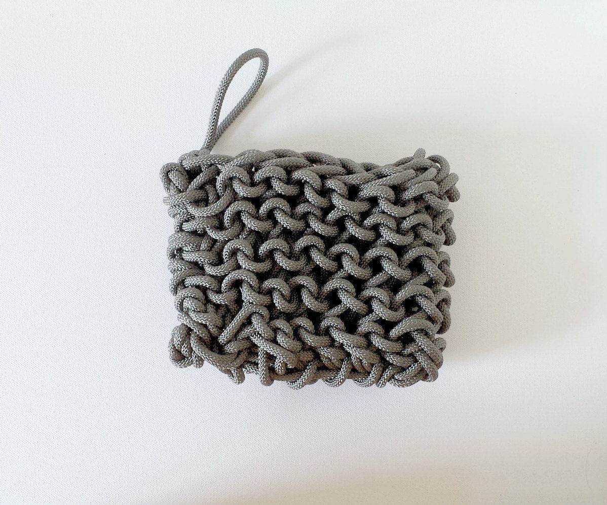 Knitted bags, Roping Bags, Wristlets, bags, original handbags, The Mini Infanta Wristlet-in Slate- Women accessories, women's bag - ShesGUtSSY