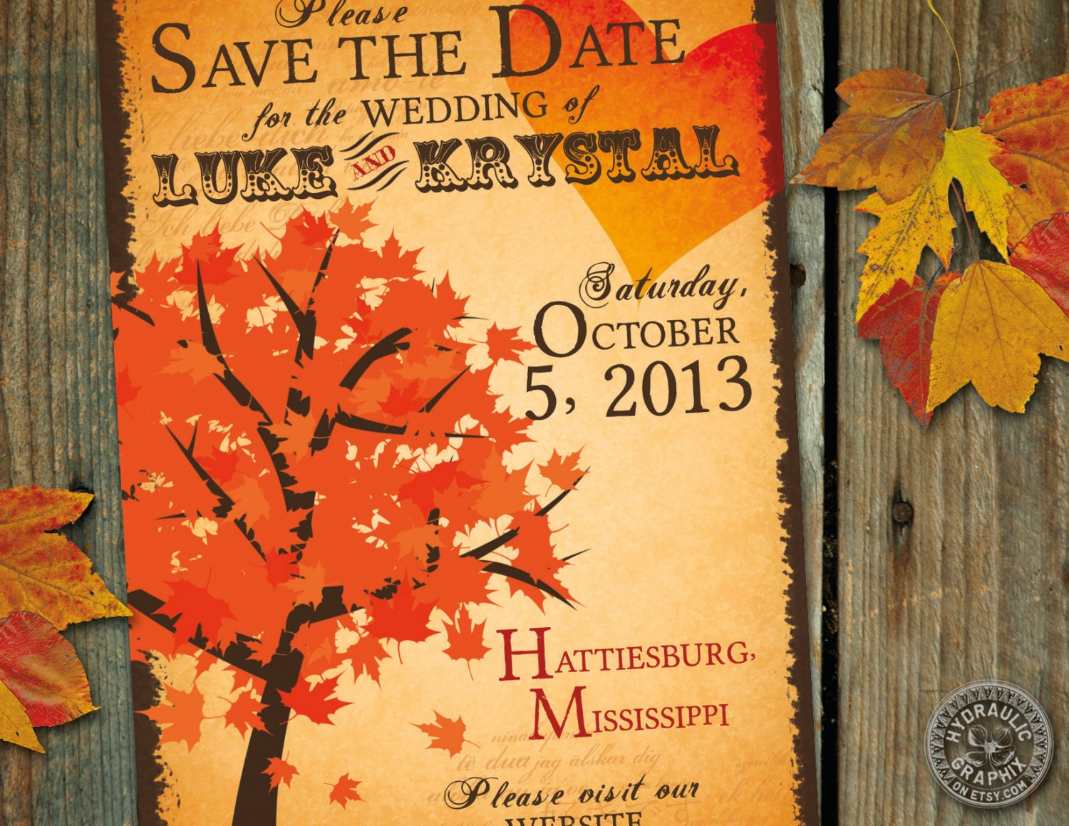 Fall Save The Date Wedding Invitation With Halloween