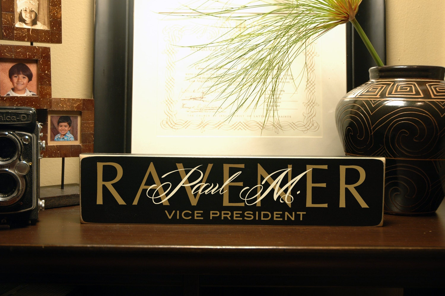 Office Name Plate Title 15x35 Custom Wooden by