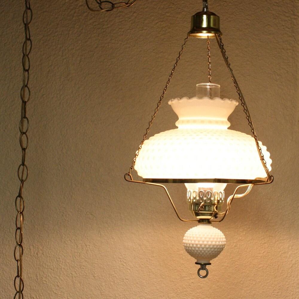 Vintage Hanging Light Hanging Lamp Milk Glass By Oldcottonwood