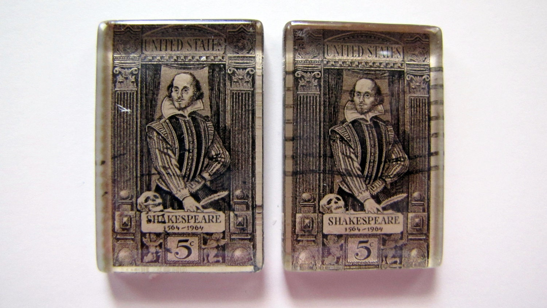 Shakespeare vintage postage stamp magnets - set of 2