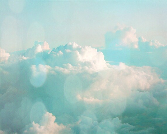 Cloud Sky Art Print - Blue Aqua White Bokeh Soft Home Decor Wall Art Photograph - SevenElevenStudios