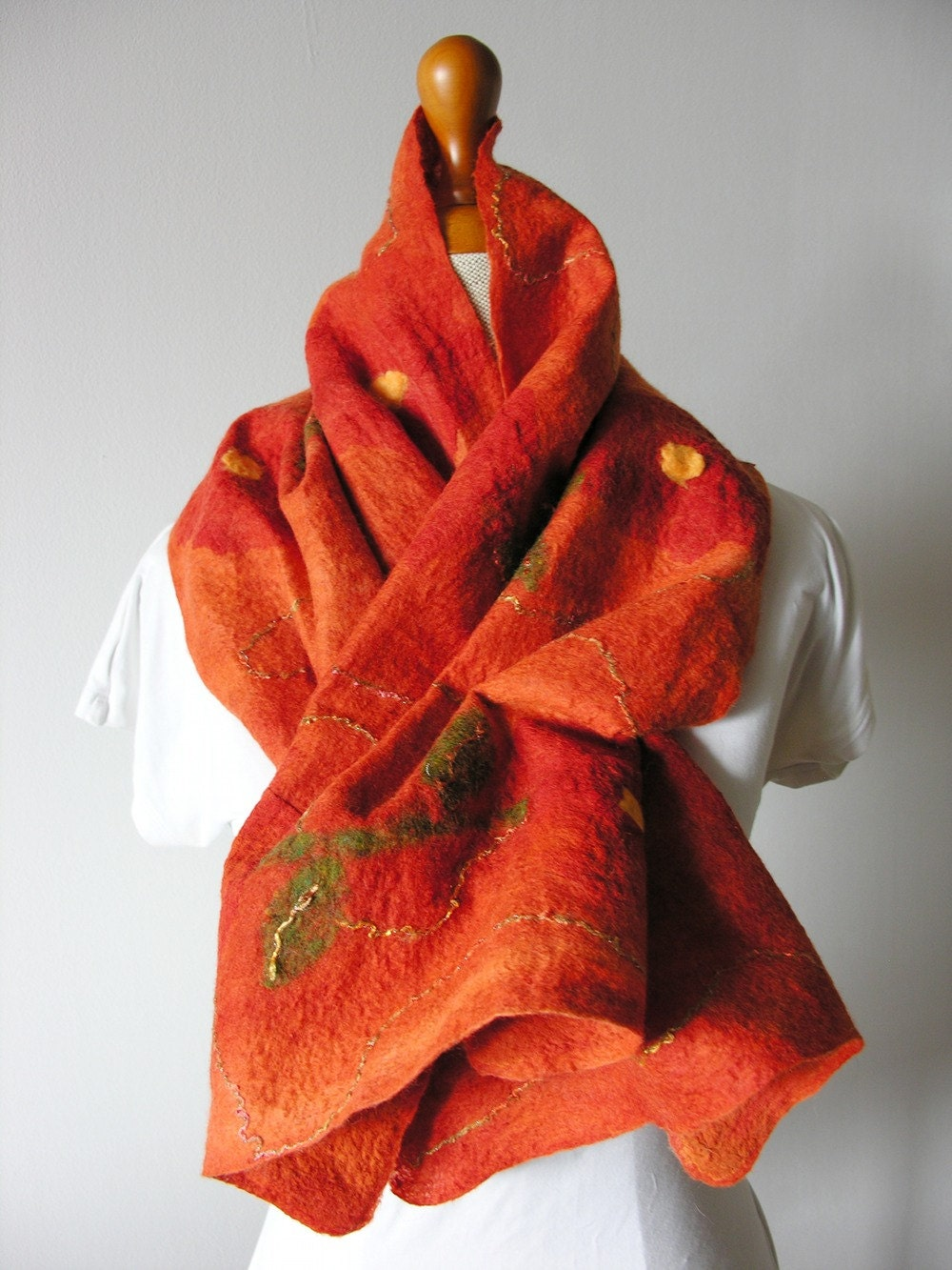 NUNO felted scarf  in Autumn colors- oranges and greens. - DiSeta