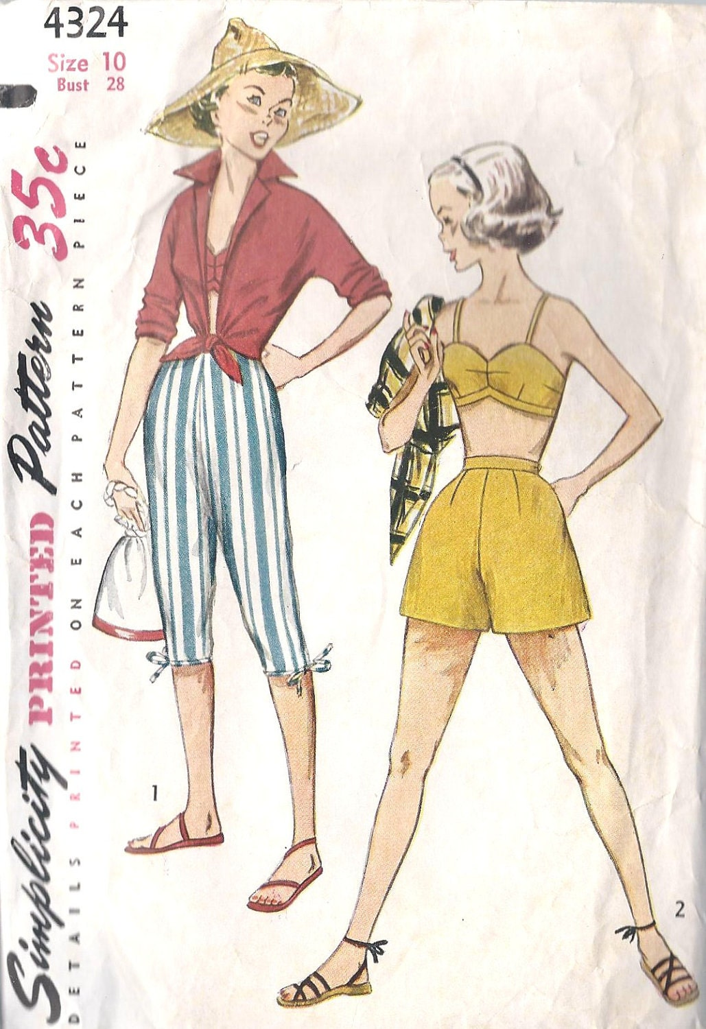 1950s Teen Shorts, Pedal Pushers, Bra and Shirt Vintage Sewing Pattern, ...