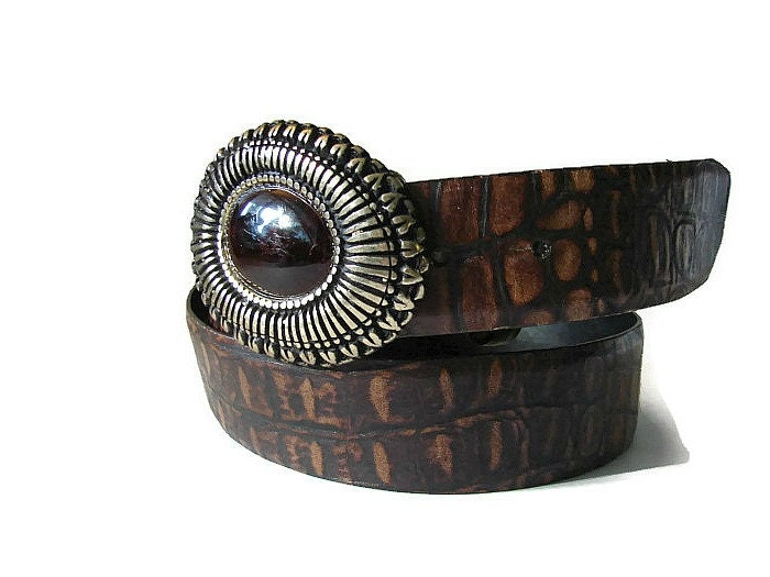 Sandy Duftler brown croc leather belt. Vintage steampunk style wide black brown leather belt. Italian brass amber glass cabochon buckle - OnceLostBoutique