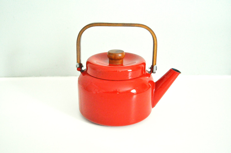 Vintage Red Enamel Teapot - LittleBlueHouseMod
