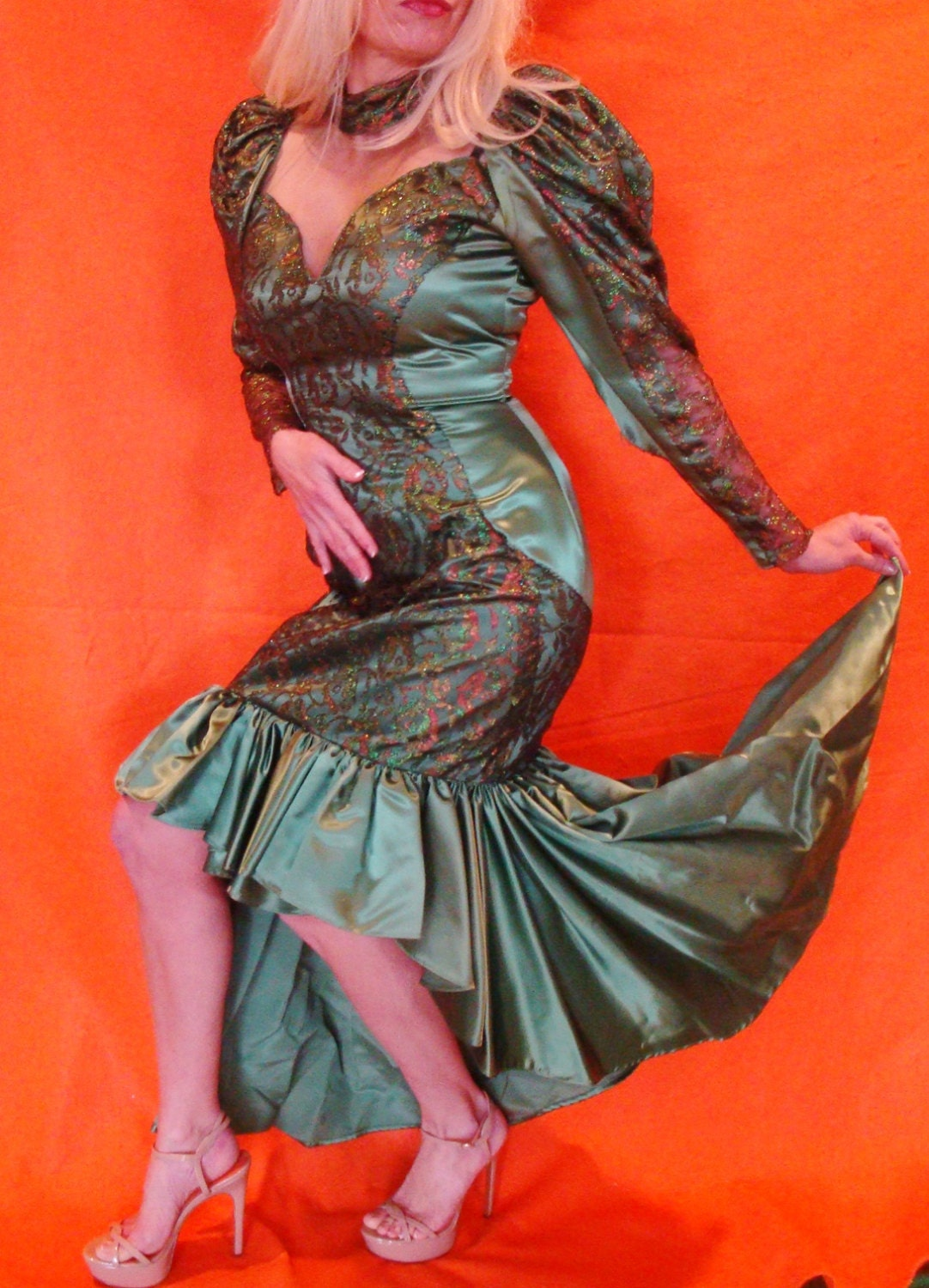 Snot green ugly 80s bridesmaid dress hideous by for Ugly wedding dresses for sale
