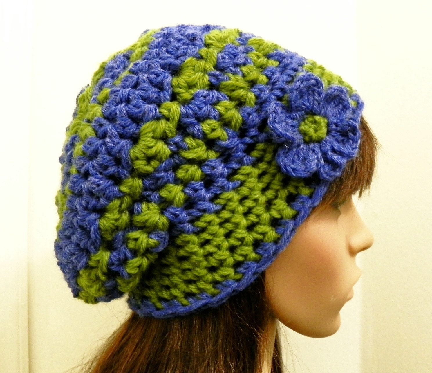 Wool Blend Slouchy Beanie in Blue and Green - Hand Crocheted