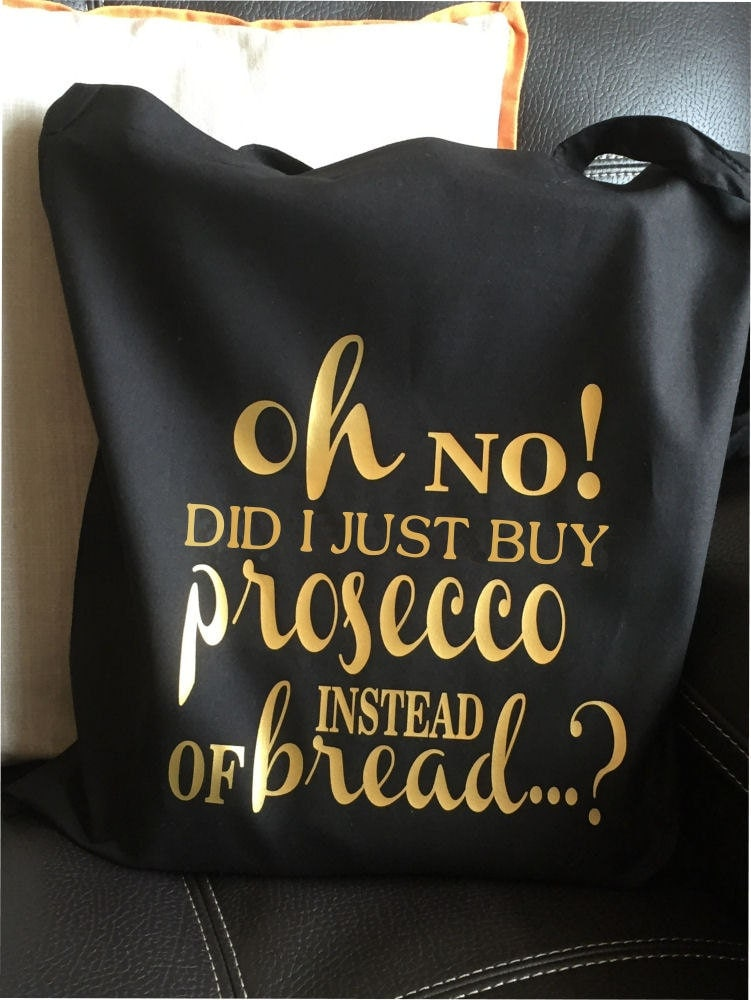 Oh No Prosecco Tote Bag Gold Print  Great For  Birthday Mothers Day Gift Secret Santa Christmas