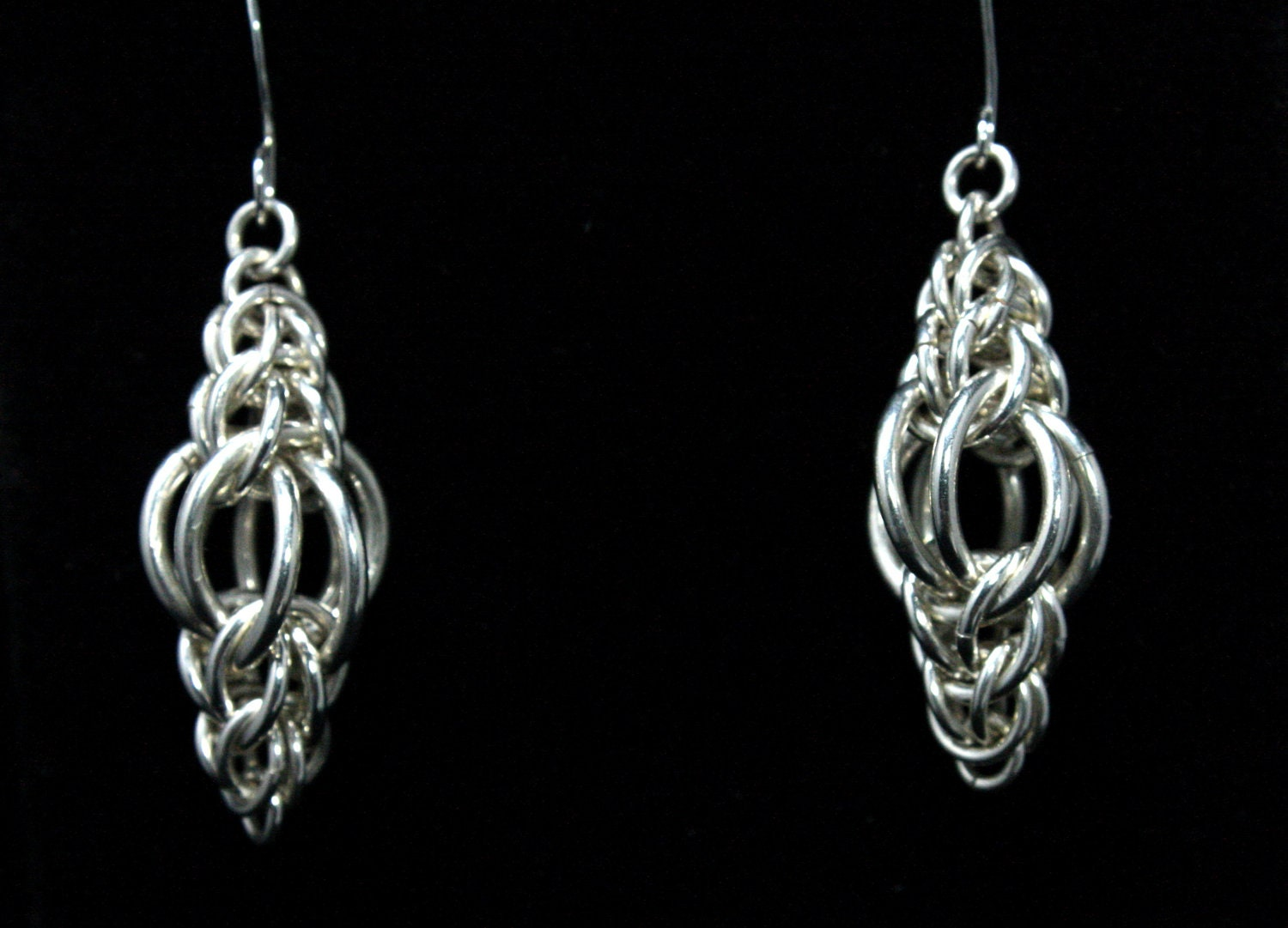 chainmaille earrings ls silver by silverlionjewelry