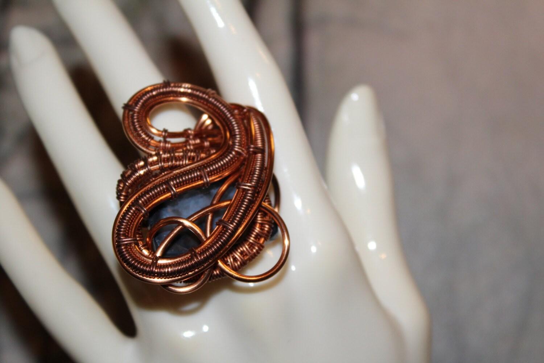 Copper Statement Ring Blue Dragon Vein Agate Gemstone