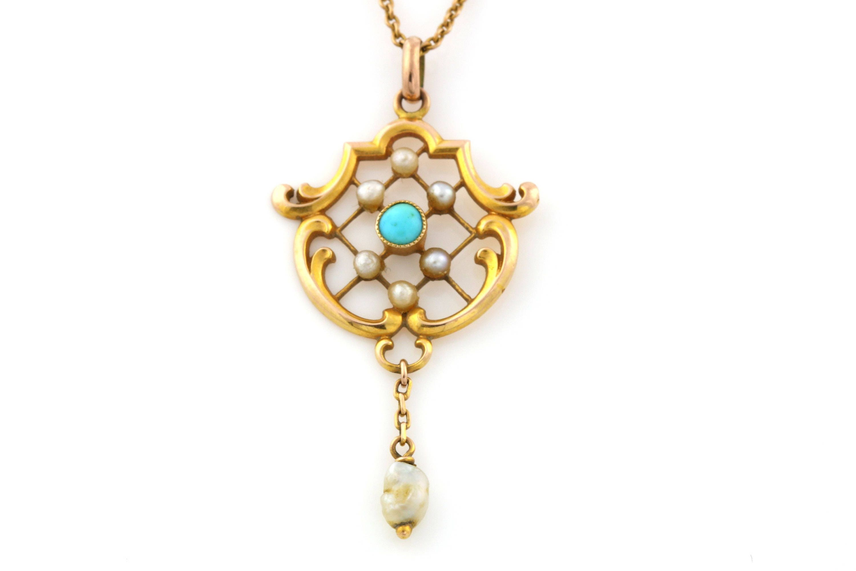 Beautiful Antique 9ct Gold Turquoise  Pearl Lavalier Pendant with chain Circa 1910