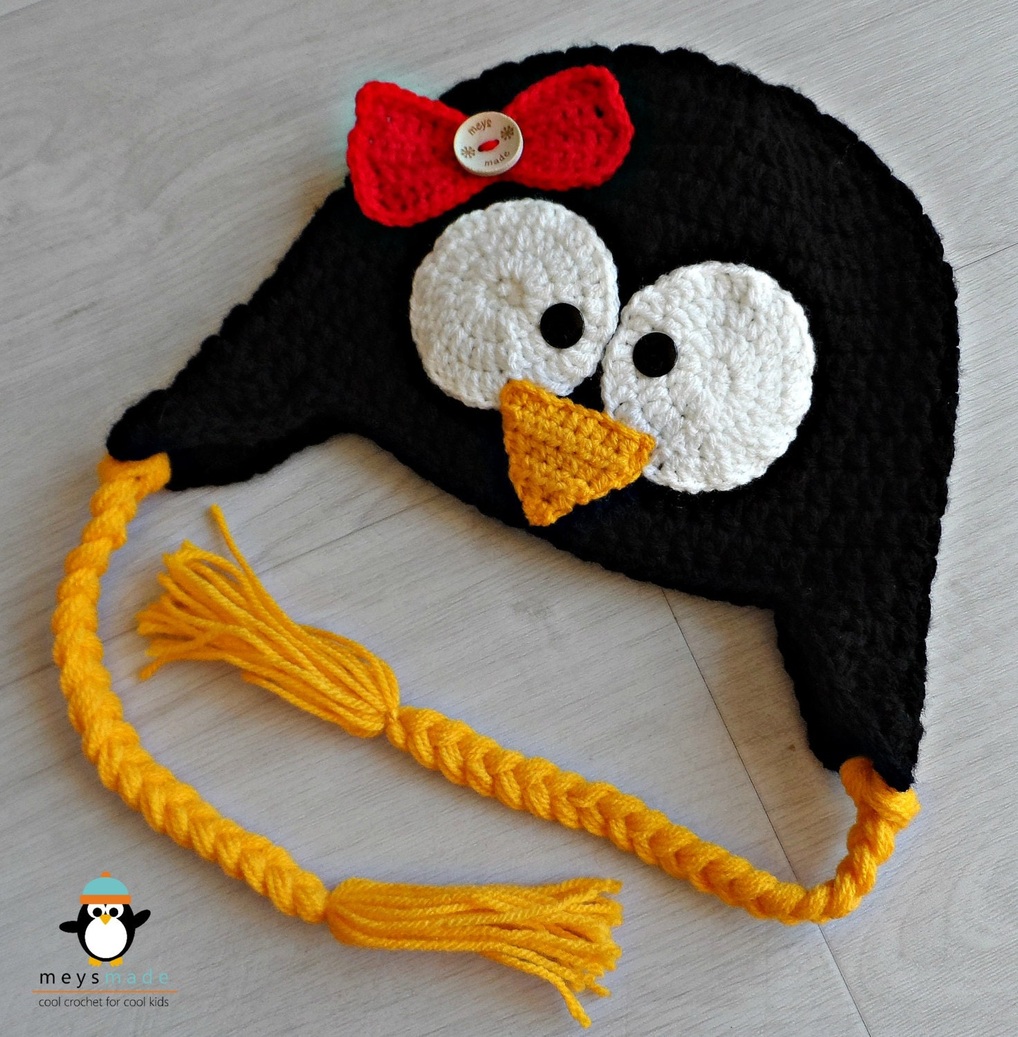 Custom Crochet Penguin Earflap Animal Hat for Newborn Baby, Infant Toddler, Child, or Cute Photo Prop by MEYS MADE for Cool Kids - MeysMadeCoolCrochet