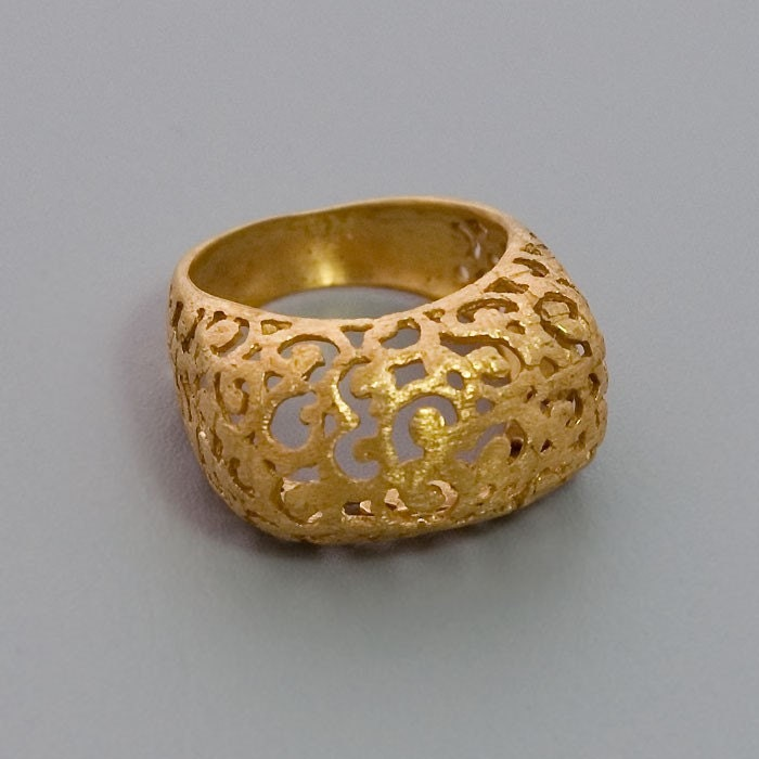 gold lace ring handmade 24k yellow gold coated by