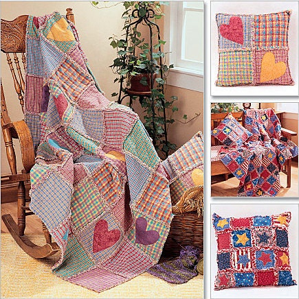 Throw Pillow Sewing Pattern : RAG QUILT THROW & Pillow Sewing Pattern Rag by patterns4you