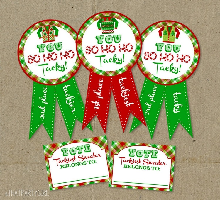 Ugly Sweater Party Awards and Voting Ballots - DIY INSTANT DOWNLOAD