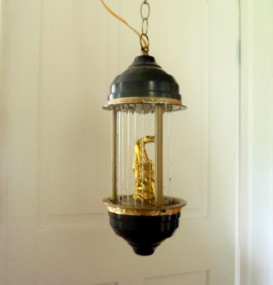 Vintage Rain Lamp Hanging Lamp Swag Lamp Gold By Honestjunk