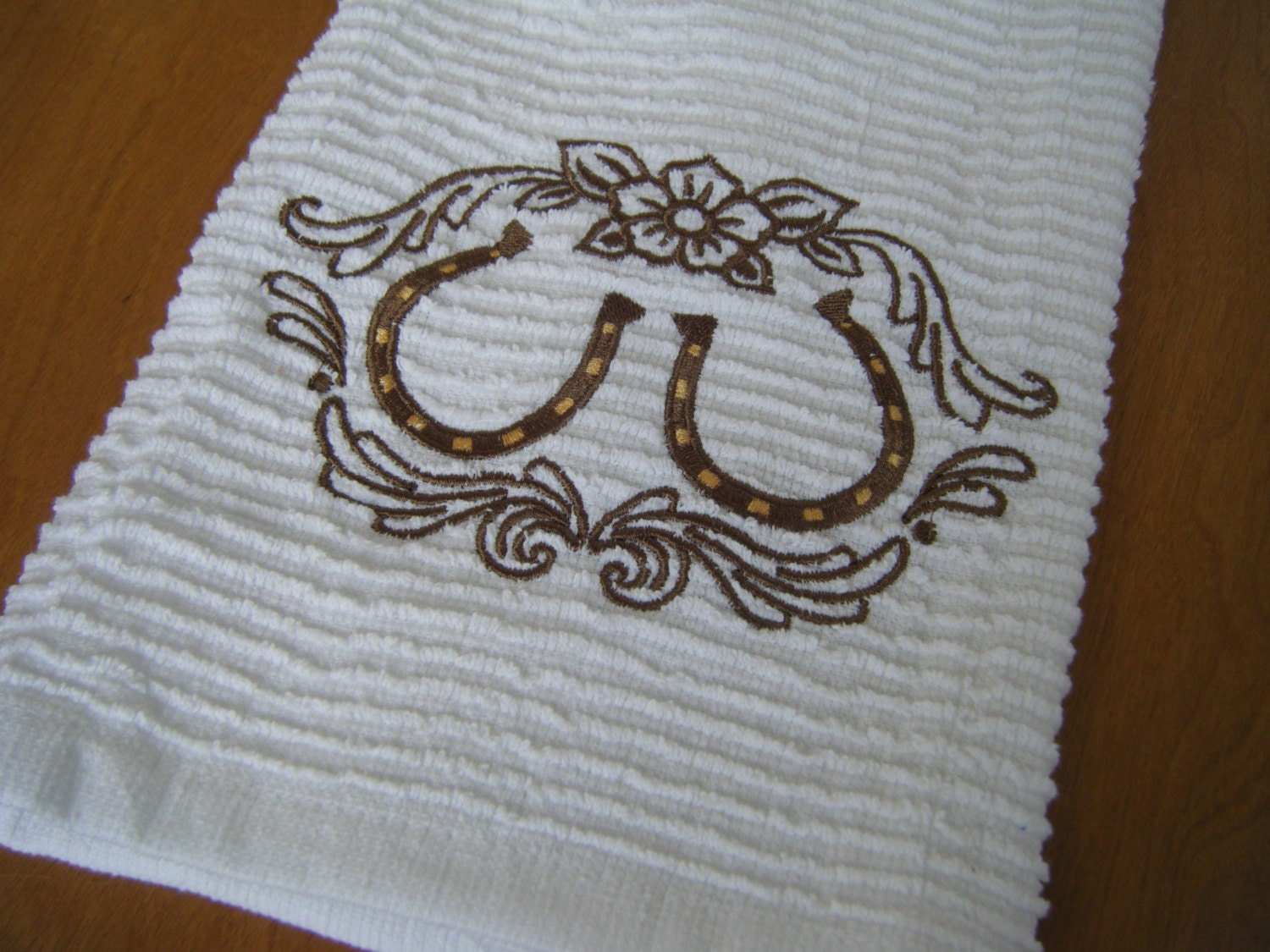 Horse Shoe Personalized Kitchen Towel Western By Crafting4caleb