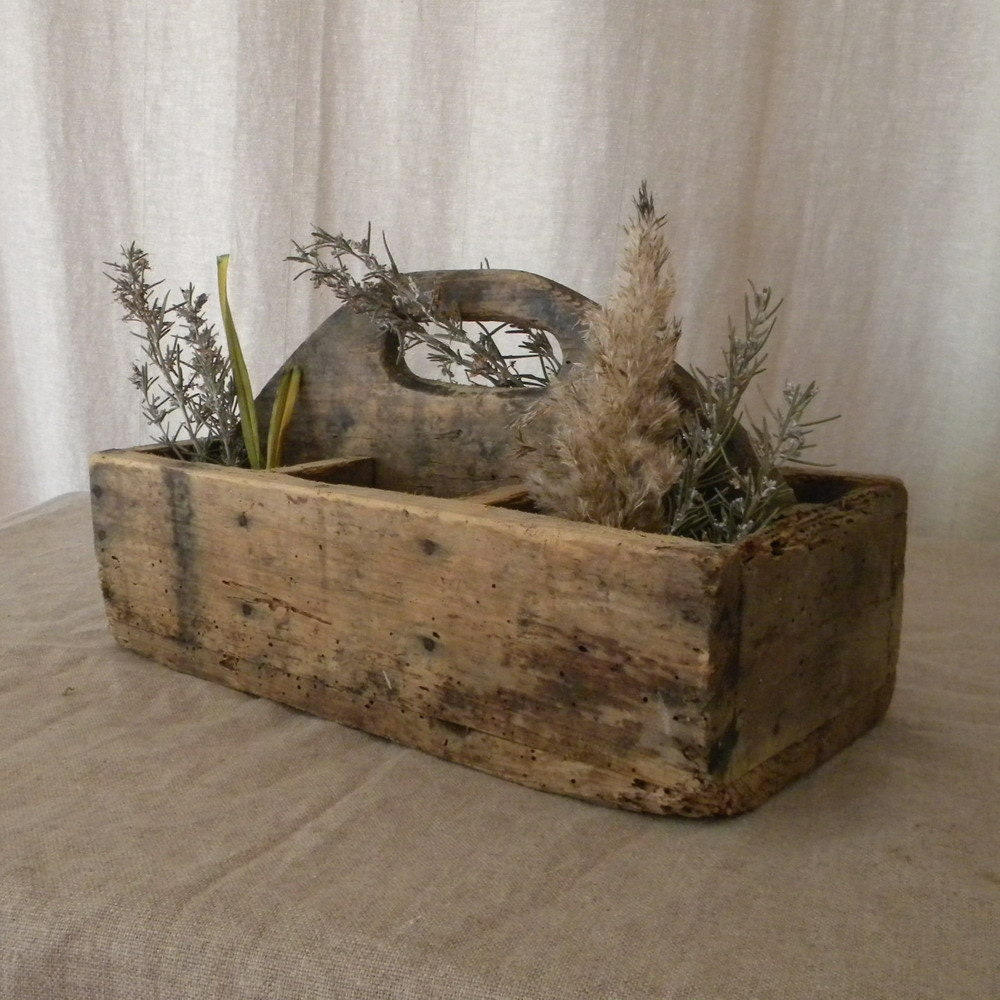 Vintage Wood Tool Caddy French Country Decor By Lapomme On