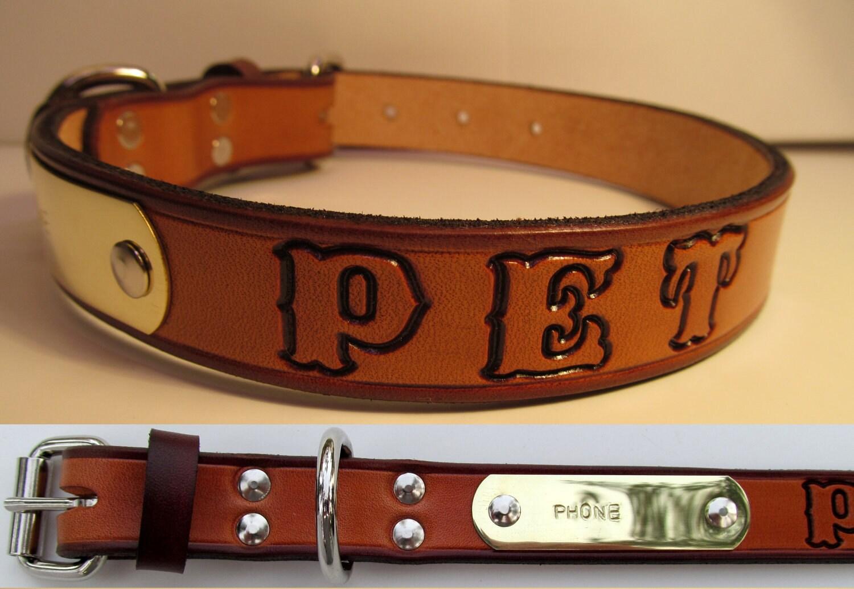 Custom Western Leather Dog Collar Free by Leathercraftshop