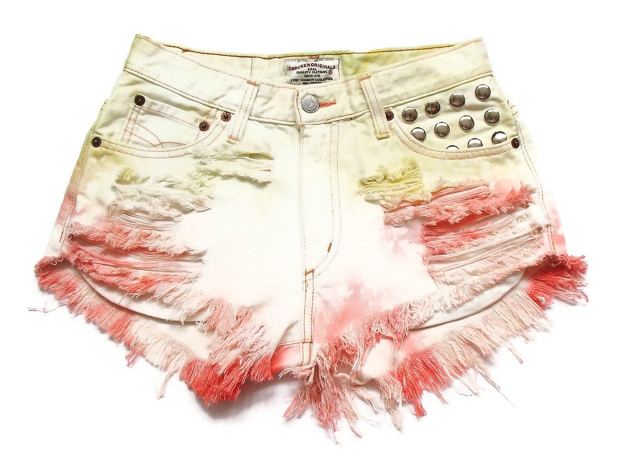 Pastel tie dye alta cintura shorts jeans S