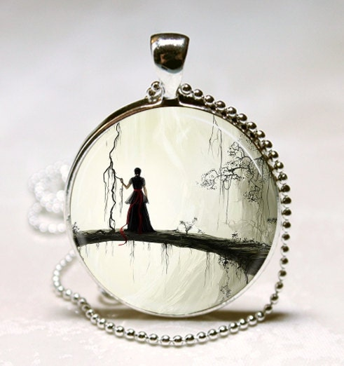 Gothic Jewelry Spooky Woman Silhouette Enchanted Forest Fantasy Art Pendant with Ball Chain Necklace Included - MissingPiecesStudio