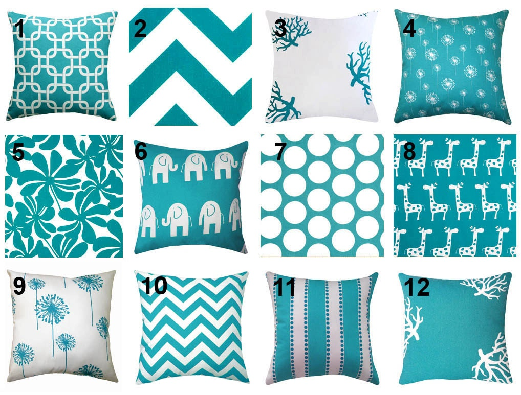 Columbus Day SALE - Premier Prints True Turquoise Decorative Throw Pillow - Free Shipping - LandofPillowsDotCom