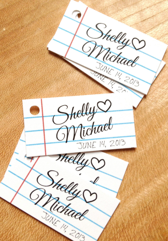 Wedding Favor Tags - School Style Mini Gift Tags - Wedding Gift Tags ...