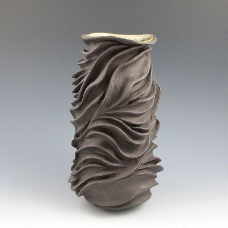 Organic carved sculptural ceramic pottery vase by jtceramics