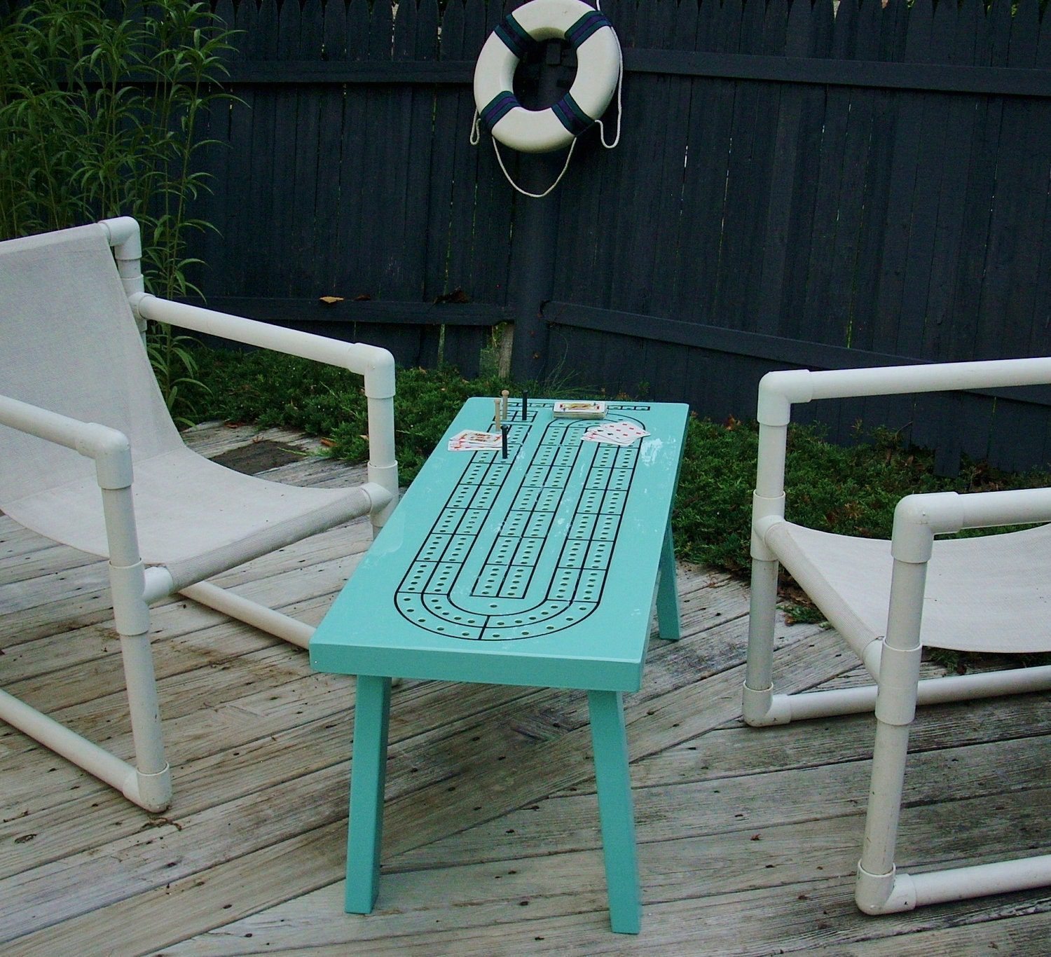 Cribbage Board Coffee Table - Handcrafted Keepsake  - Made to Order - Tropical Turquoise - TheRightJack