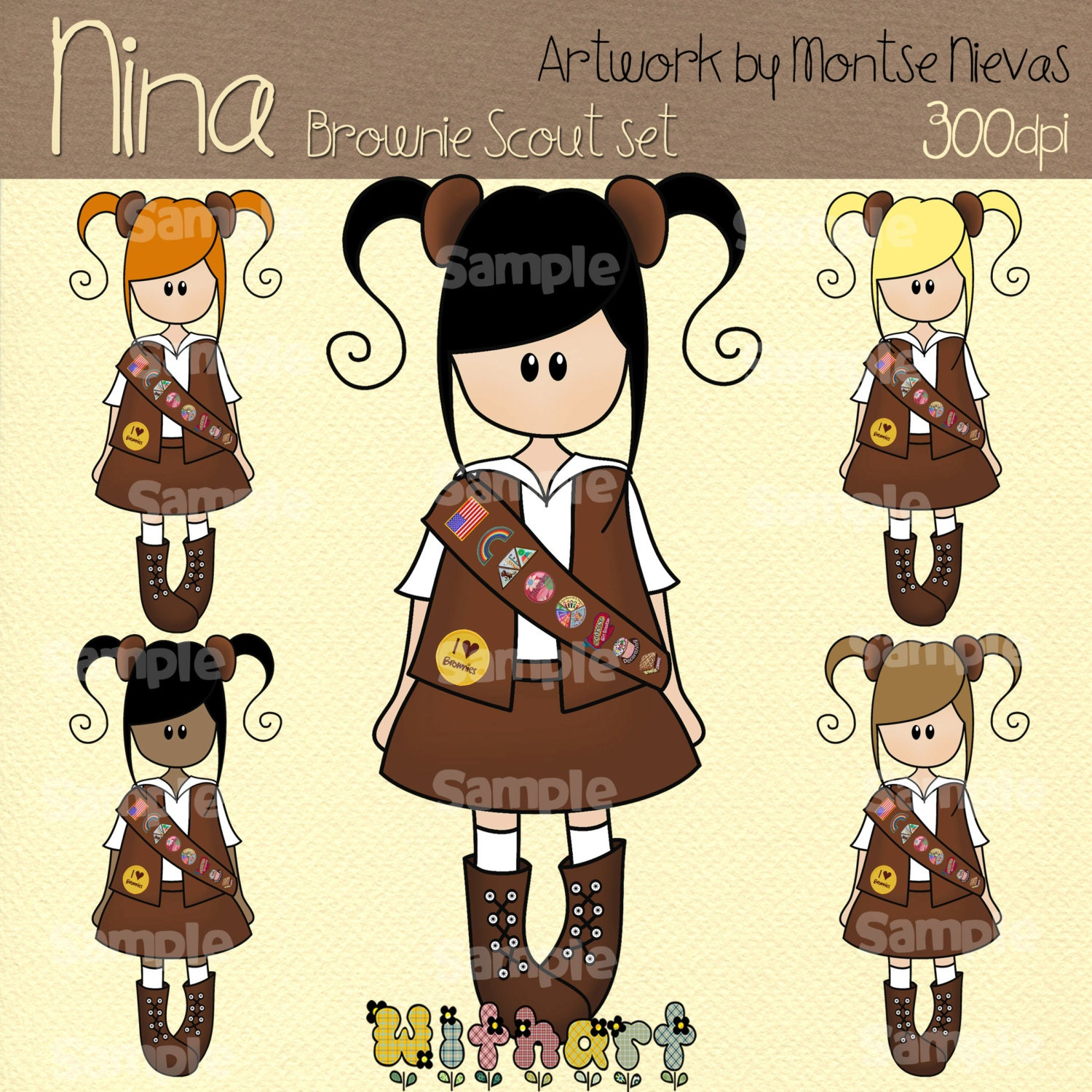 Brownie girl scout nina dolls 0226 digital clip art set by for Arts and crafts for brownies