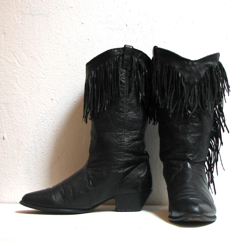 black leather fringe dingo biker cowboy boots by