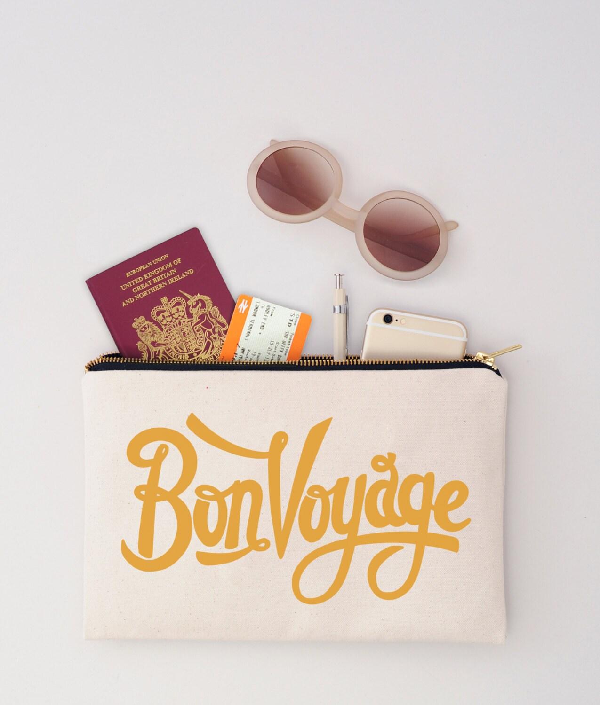 Passport Holder  Passport Wallet  Travel Wallet  Travel Makeup Pouch  Canvas Makeup Bag  Bon Voyage Pouch  Alphabet Bags