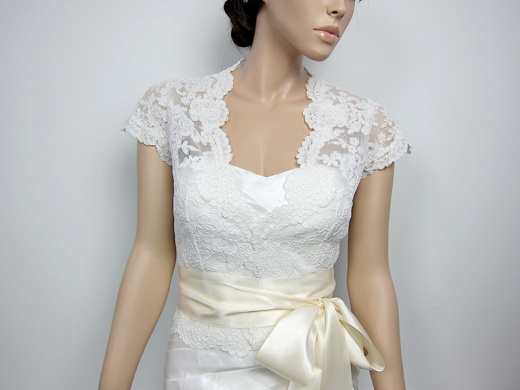 Ivory front open alencon lace bolero jacket bridal by for Lace jackets for wedding dresses