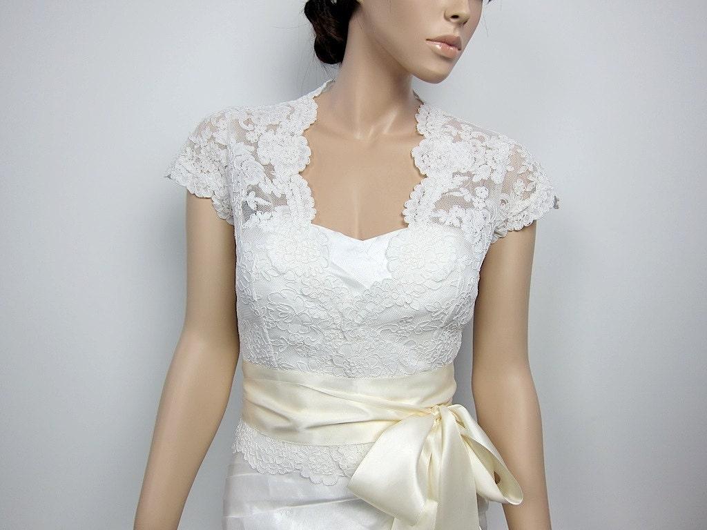 Ivory Front Open Alencon Lace Bolero Jacket Bridal By Alexbridal