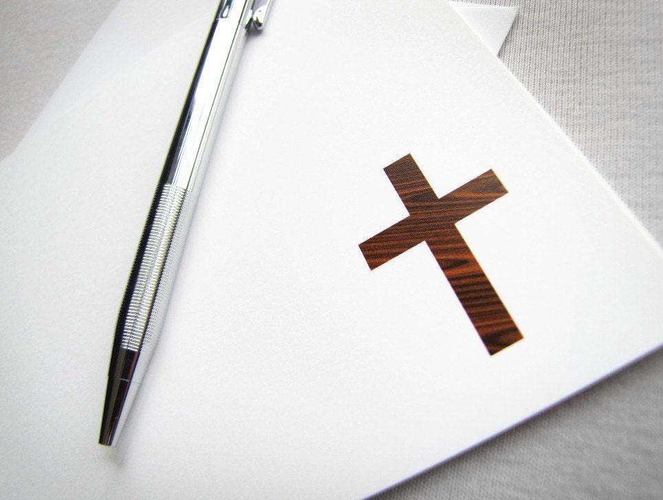 Easter card - Wood grain Cross cards - religious, christian cards, john 3:16