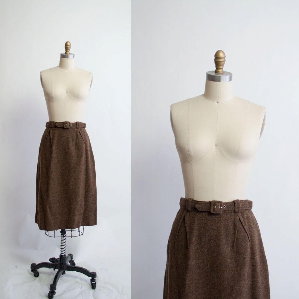 Vintage 60s Belted Wool Skirt / Coffee Brown by GingerRootVintage