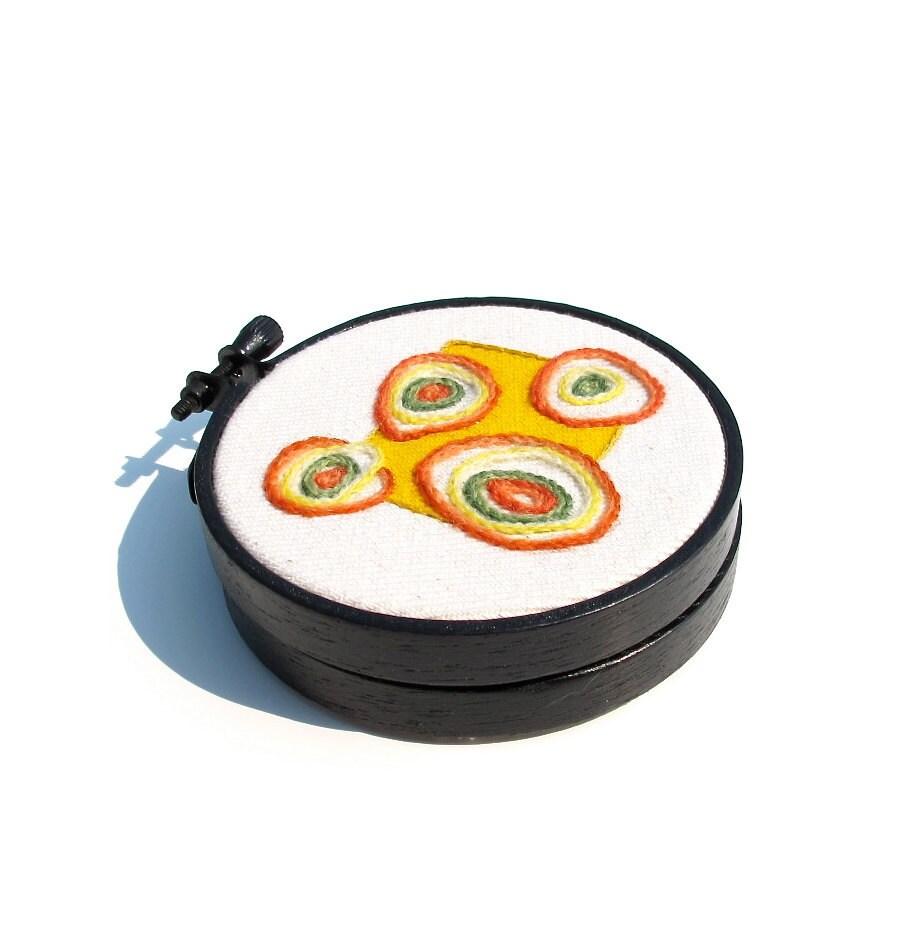 Mini Embroidered Hoop, Pop Art Flowers