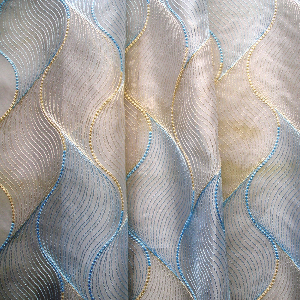 Gold Baby Blue Chain Stitch Embroidery Sheer Curtain Panels Drapery ...