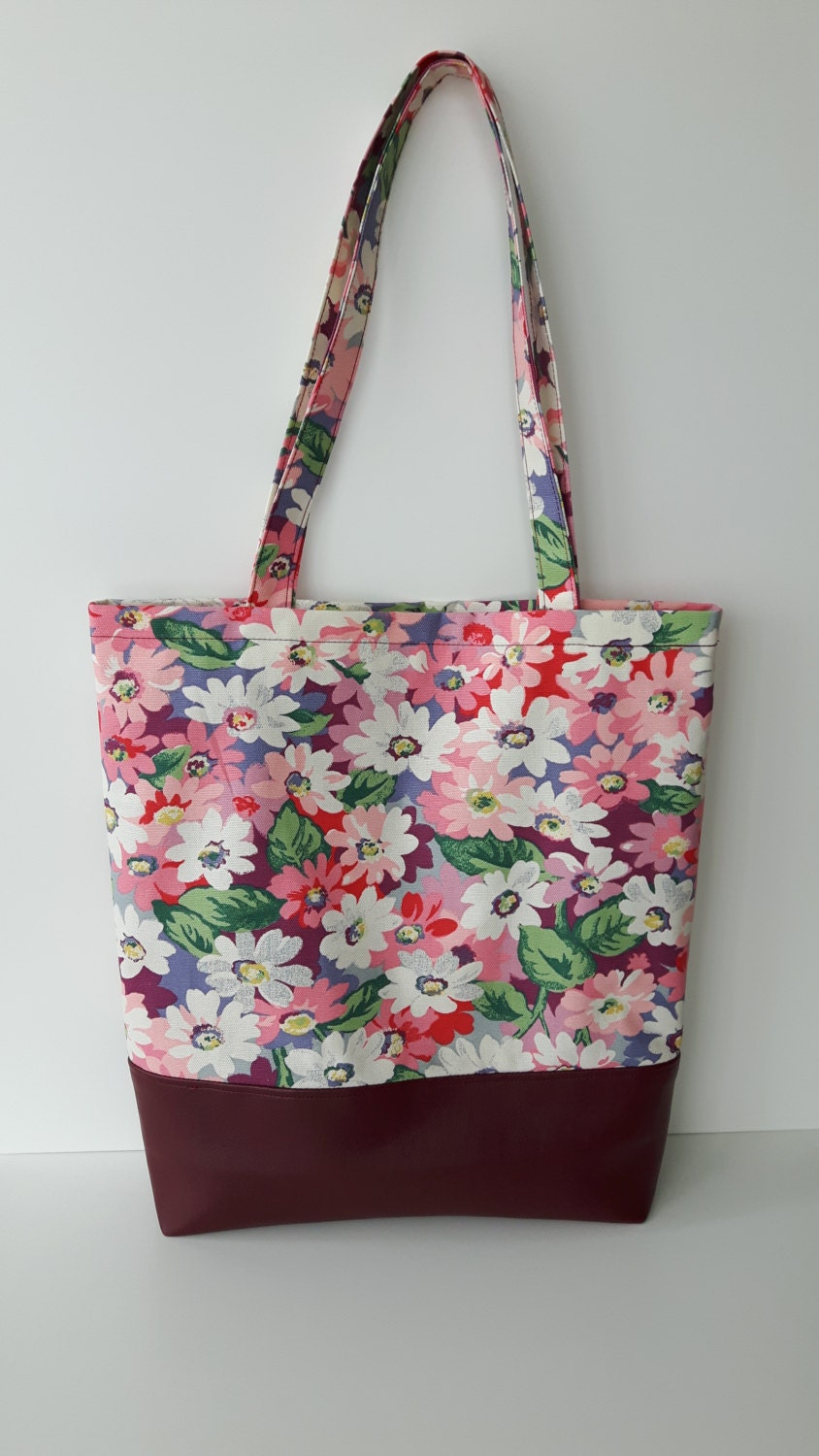 SALE 20 Floral tote  bag in Cath Kidston  waterproof  fabric with soft faux leather bottom  Floral tote bag Large tote bag