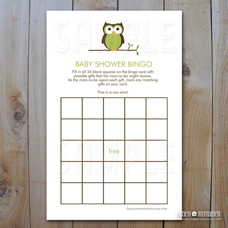 owl baby shower bingo game cards green owl by fancyshmancynotes