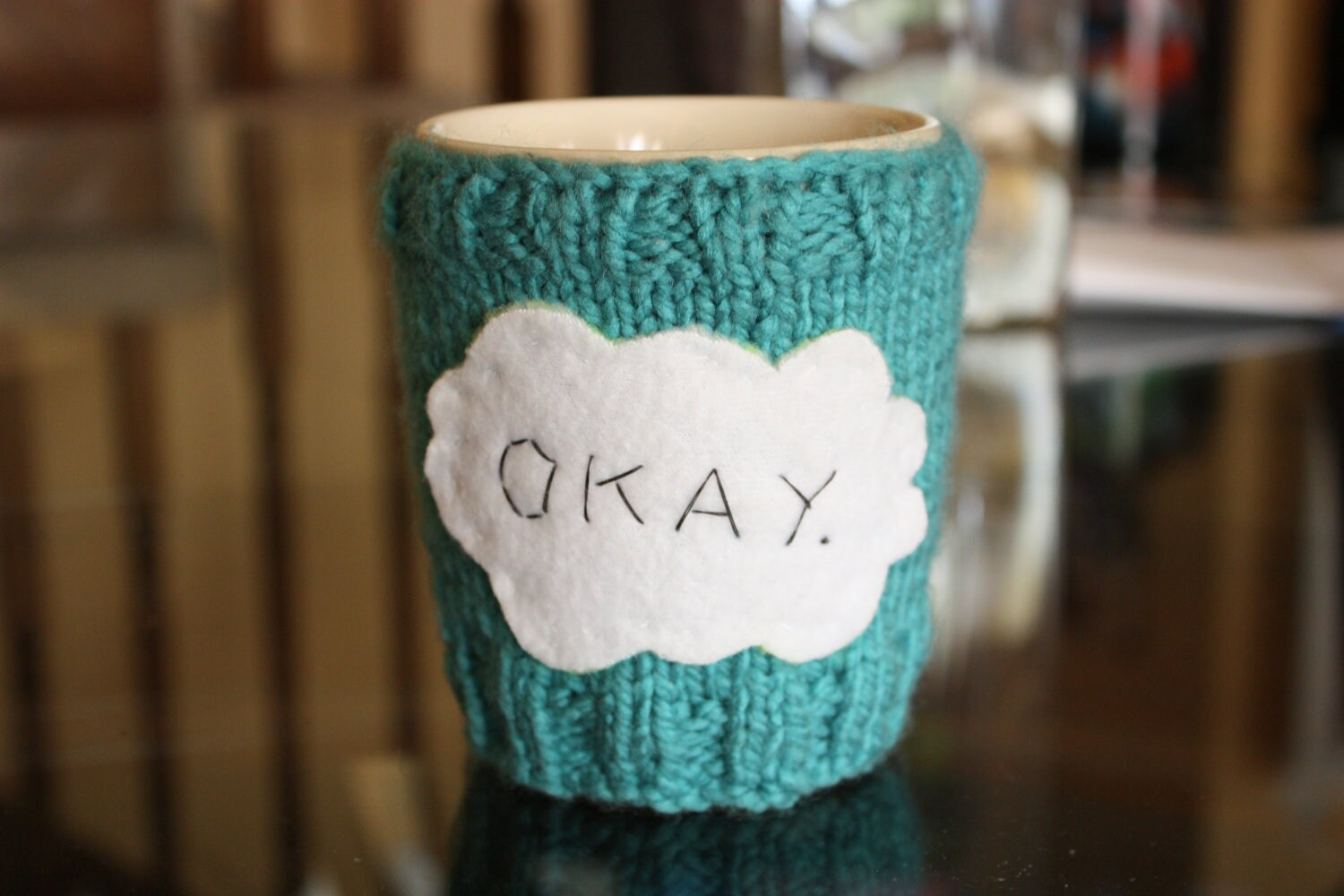 "The Fault in Our Stars (John Green) ""Okay."" mug cozy"