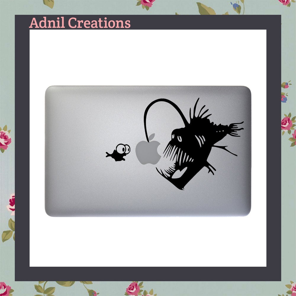 Mac Decal Anglerfish Angler Fish Apple Macbook and other laptop Deep Sea Ocean Bioluminescence Glowing Apple Fish bait
