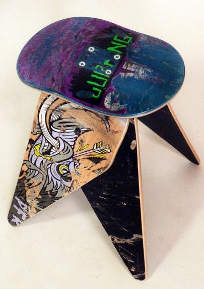 Deckstool Recycled Skateboard Stool No 416 By Skateordesign