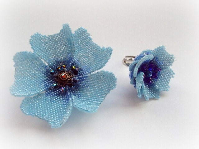 Elegant Blue Poppy Flower Seed Beads Peyote  Stitched  Brooch  Ring Set. Summer Fasion.  Gift Idea Under 50. - MilenasBoutique